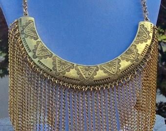 Pretty Pink Addiction-Gorgeous Gold Tone Fringe Bib Necklace