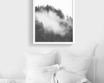 The Dark Førest PRINTABLE wall art |  Black and white Forest Poster | Modern Nature Photography | Instant Download | Fog Forest Art Print