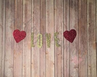 Love Banner, Glitter Banner, Love Glitter Garland, Red Hearts, Valentine Banner, Valentine Garland, Glitter Valentine