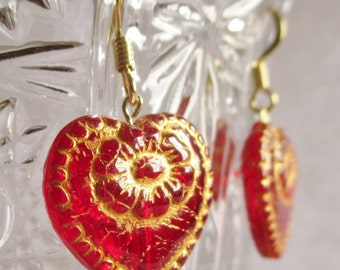 Red Heart Earrings - Red and Gold Czech Glass Heart Bead Earrings - Beaded Earrings - Boho Earrings - Jewelry at Havenhill Cottage