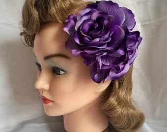 "Rose hair clip - the ""Rosalita"" - Double rose pin up hair flower, hair clip, vintage style, 1940s, 1950s - PURPLE - 7 other colours availa"