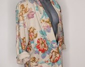 Womens Vintage Blazer, Floral Print, Liz Claiborne, Linen 80's Oversized Jacket, Beige, Size XL 14