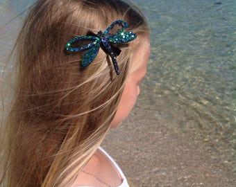 Handmade Sparkling Glitter Dragonfly Hair Clip