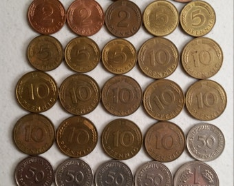 31 germany vintage coins 1964 - 1995  - coin lot pfennig marks  - world foreign collector money numismatic a54