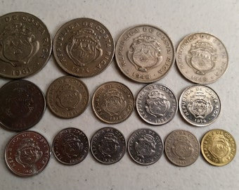 15 costa rica vintage coins 1948 - 1983  - coin lot centimes colon - world foreign collector money numismatic a80