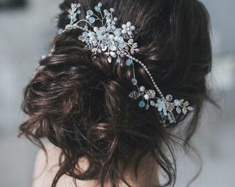 Wedding Hair Piece, Wedding Hair Vine, Pearl Crystal Hair Vine, Bridal Crystal Hairpiece, Crystal Hair Wreath