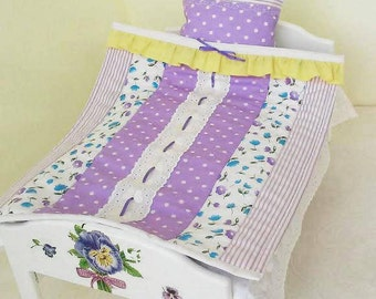 "Doll bedding, doll mattress, wooden doll bed, doll bed mattress, doll bedding set, 15"" doll bed, handcrafted bed, pensies, bed with flowers"