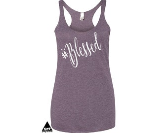 Blessed Christian Shirts Religious Shirts Women's Flowy Triblend Racerback Tank
