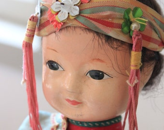 Vintage Chinese Girl Doll in Turquoise and Pink Costume with Tasseled Headband