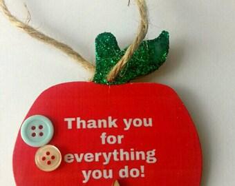 Teacher gift, leaving gift, end of term gift, thank you teacher, keepsake gift, red apple, thank you gift, green glitter, glitter apple