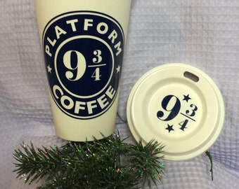 Harry Potter Platform 9 3/4 Personalized Starbucks Style Travel Coffee Cup