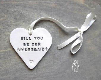 Will You Be Our Bridesmaid? Bridesmaid Proposal, Bridesmaid Gift, Clay Hanging Heart, Wedding Favour, Wedding Party Request, Old Flour House