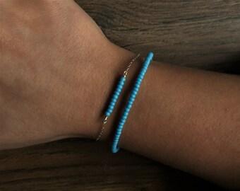 Beachy Bracelet, Blue Boho Bracelet, Boho Bracelet, Czech Seed Bead Bracelet, Simple Bracelet, Beaded Bracelet, Blue Bead Bracelet, Nova