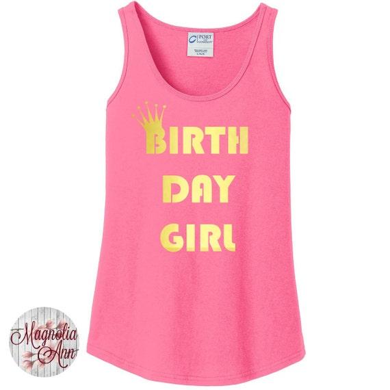 Birthday Girl, Gold Metallic Crown, Happy Birthday Women's Tank Top in 6 Colors, Sizes Small-4X, Plus Size