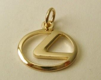Genuine SOLID 9ct Yellow Gold LEXUS Sign Logo Car charm/pendant