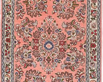 "2'8"" x 9'9""  Vintage Persian 1960's Pink Runner Sarough - Rug"