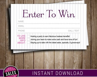 Raffle Ticket | Door Prize | Instant Downlaod | Direct Business Card | Printable | Digital File | Younique Compliant Fonts & Colors