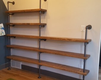 Large industrial pipe shelving unit