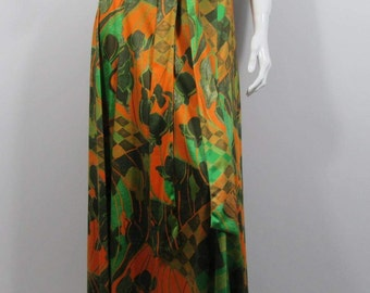 1970s ART NOUVEAU Print MAXI Skirt by Ellda- Uk 10