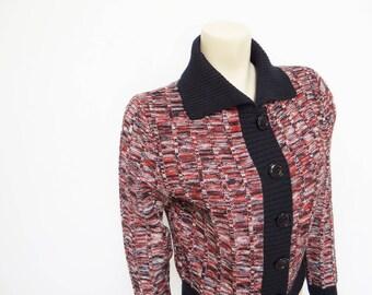 60s Boho Cardigan, Medium, Ladies Vintage, Hippie, Acylic, Cropped, Knitwear, Vintage Clothing