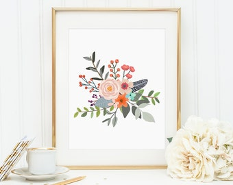 Bouquet, Posies, Watercolor Flower Posy,  Wall Decor, Home Decor, Watercolor Flowers, Canvas Wall Art, Artwork, Floral Print, Prints