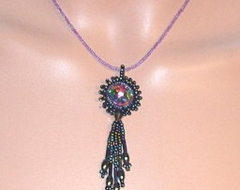 Crocheted and beaded pendant