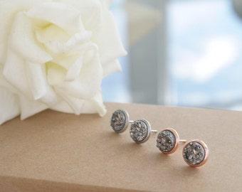 Grey Druzy Earrings | Rose Gold | Silver Stud | 8mm studs
