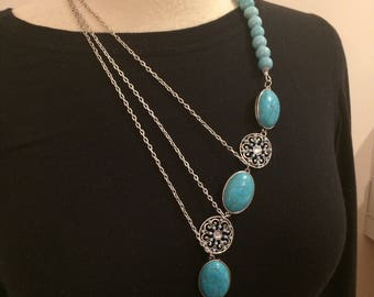 Turquoise necklace, multi-strand necklace, statement necklace, turquoise pendant