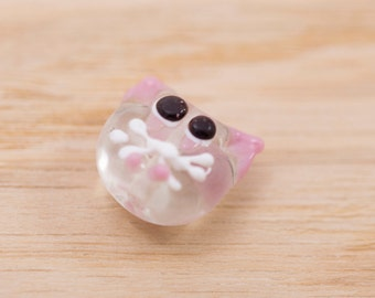 1 count 15mm vintage pink white transparent glass cat shaped beads destash lot vintage wedding cake lampwork beads
