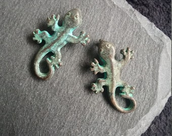 Greek Made Copper Gecko or Lizard Pendant with a green patina