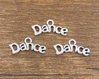30pcs Dance Charm Antique Silver Tone 20x8mm - SH271