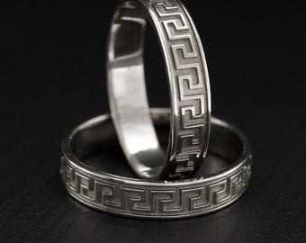 Greek silver wedding rings, Couple greek wedding rings, Greek style wedding band set, His and hers rings, Greece wedding bands, Unique bands