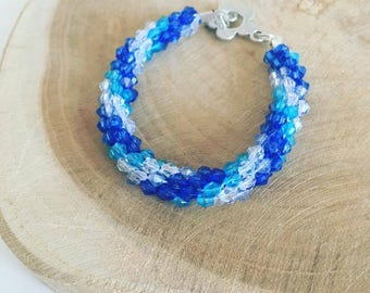 """Kumihimo pearl bracelet """"Blue Ocean"""""""