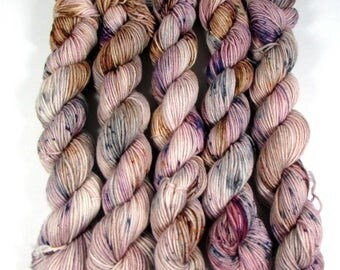 Speckled Mini Skeins, Hand Dyed Sock Yarn, Cream, Gray, Brown, Purple, Fingering Weight, SW Merino Wool, Nylon, Antique Mystique
