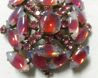 Pink Rhinestone and Jelly Belly Art Glass  Large Stone Vintage Silver Plated Brooch Pin