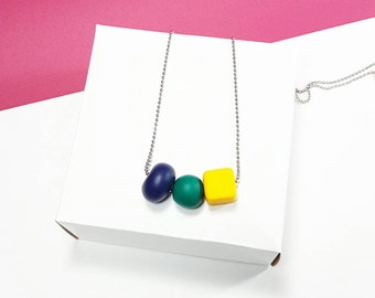 Navy blue necklace, Emerald green necklace, Yellow necklace, Minimalist necklace, Statement necklace, Geometric necklace, Cube necklace