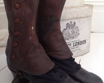 SOLD TO CHERYL Victorian boots with tall leather spats
