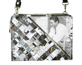 Medium zip crossbody using black & white magazine paper - FREE SHIPPING - upcycled magazine paper handbag, vegan bag, vegan gift, naveh milo
