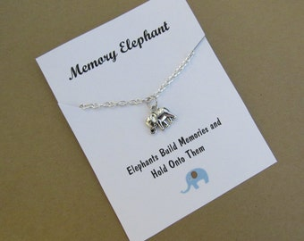 Memory Elephant Elephant Friendship necklace Elephant charm Best Friend gift Wish necklace Elephant wish necklace Birthday Gift BFF gift