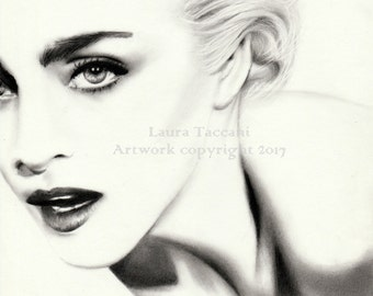 Madonna portrait - Art print signed from an original graphite drawing