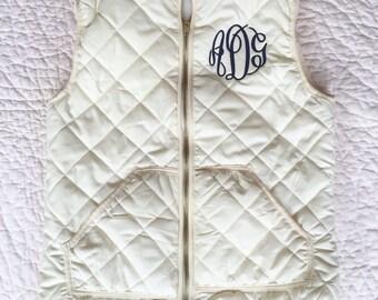 Monogrammed Vest // Cream Navy Black Red Checkered Monogram Vest // Monogram Quilted Vest // Preppy Outfit // Christmas Gift Vest // Layers