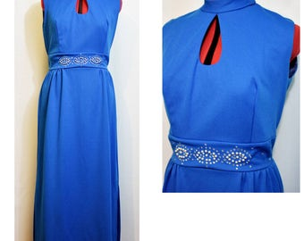 Bright Blue Evening Gown with Keyhole Neckline and Beaded Waistline