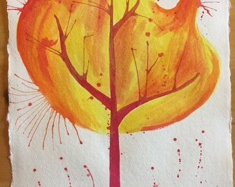 Red and Orange Firey Watercolor and Ink Tree