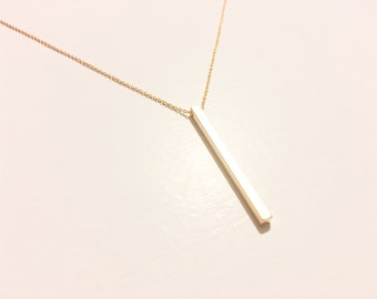 Gold Bar Necklace, Balance, Dainty, Layered, Long, Personalized, Vertical, Dogeared, Bohemian, Jewelry, Delicate, Yoga, Spiritual, Festival