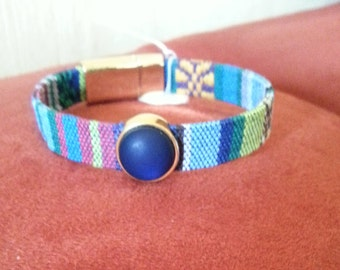 Fabric strap with matte blue Schiebecarbochon ethnic bracelet