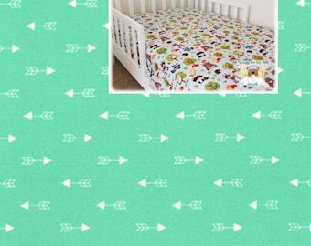 Mint Arrows Fitted Crib Sheet Geometric Aztec Arrows Nursery 100% Cotton Arrows Aztec Changing Pad Cover Cradle Mini Crib Sheet