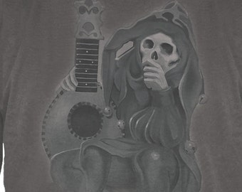 Grateful Dead Jester Skeleton Lute Player Long sleeve T-shirt / Wake of the Flood era/ Stanley Mouse/