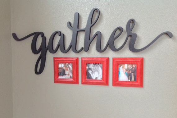 Wall Decor Gather : Gather script word sign wall decor home gallery