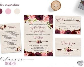 Wedding Invitation Marsala Burgundy Pink Peonies Printable Wedding Invite Floral Wedding Suite Bohemian Flowers Digital Invite Set - WS015
