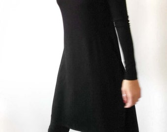 NEW-Black Women's Tunic with Slits/Black Jersey Shirt with Slits/Black Minimalist Asymmetric Blouse